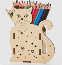 Cat Pencil Holder 3D Puzzle Free Vector
