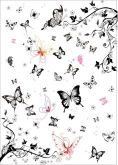 Super multi black and white butterfly vector set Free Vector