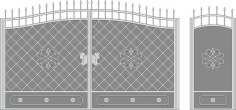 Metal Gate Forged Ornaments Vector Art Free Vector
