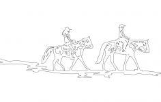 Horse And Riders dxf File