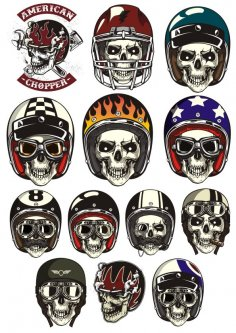 Skull In Helmet Vectors