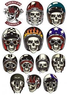 Skull In Helmet Vectors Free Vector