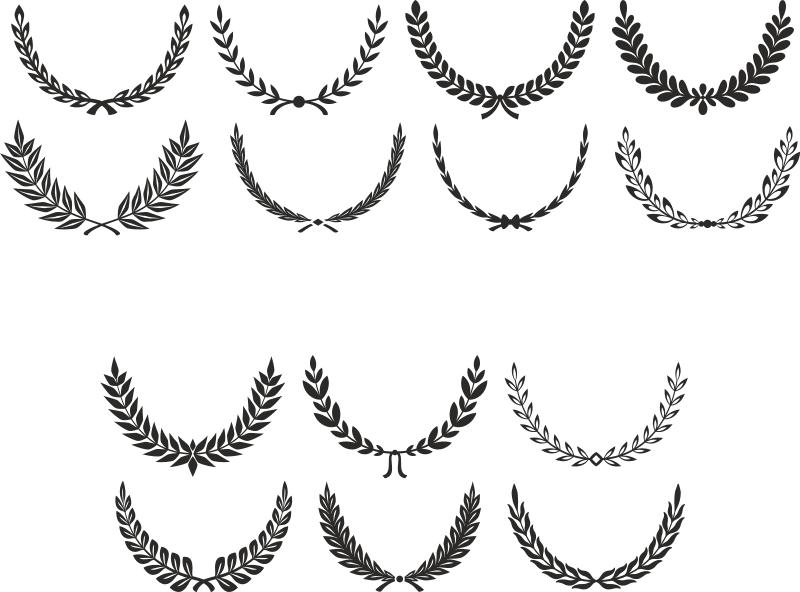 Digital Laurel Wreath laurel Clip Art Free Vector