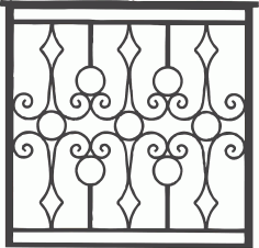 Iron Grille Gate DXF File