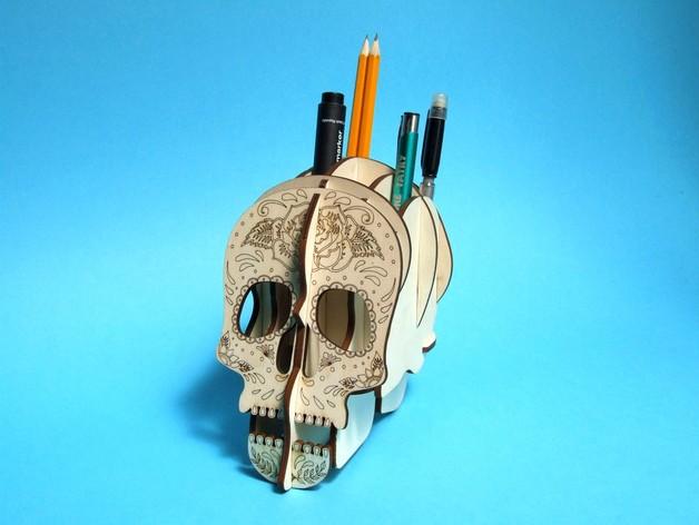 Skull 3D Plywood Pen Holder DXF File