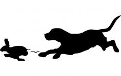Beagle Rabbit Outline dxf File