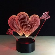 Heart 3D LED Night Light Free Vector