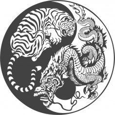 Tiger Dragon Yin Yang Vector Art