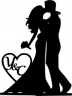 Mr and Mrs Silhouette Black Bride and Groom Vector Free Vector