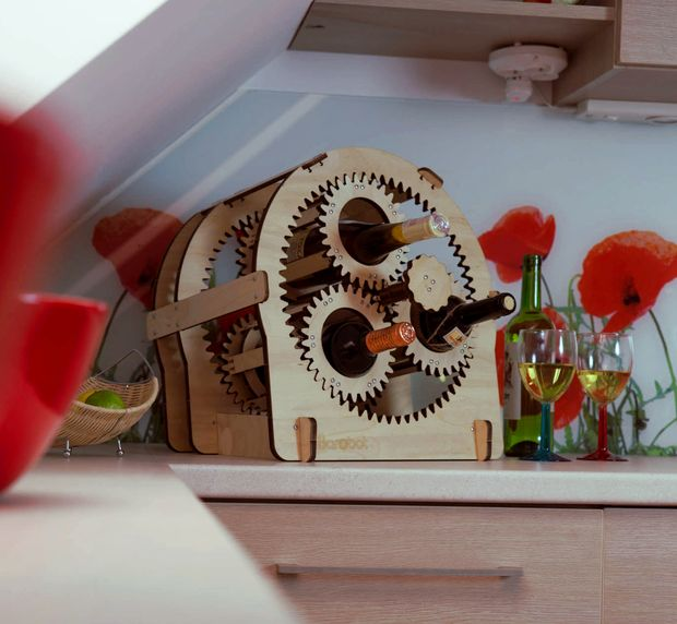 Planetary Gear Wine Stand 10mm dxf File