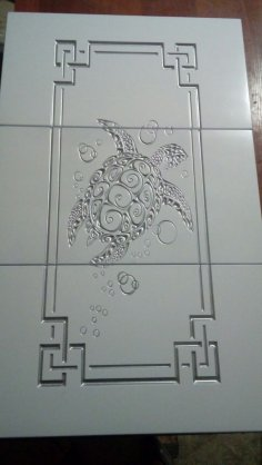 Cabinet Door Turtle Engraved DXF File