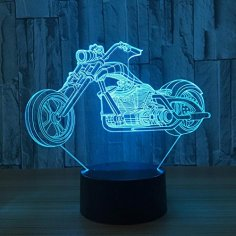 Motorcycle 3D LED Illusion Night Light Free Vector