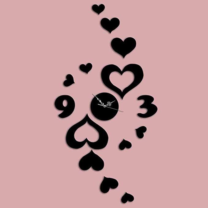 Laser Cut Heart-shaped Wall Sticker Wall Clock Free Vector