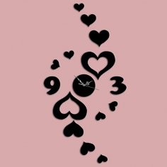 Laser Cut Heart-shaped Wall Sticker Wall Clock Free Vector