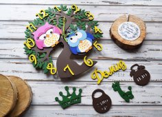 Laser Cut Kid Room Wall Clock Free Vector