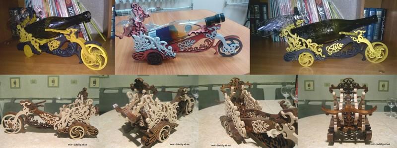 Laser Cut Bike Wine Bottle Holder Free Vector