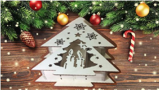 Laser Cut Christmas Box Template Free Vector