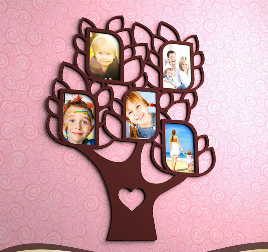Laser Cut Family Tree with 5 Frames Free Vector