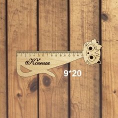 Laser Cut Cat Shape Ruler for Kids Free Vector