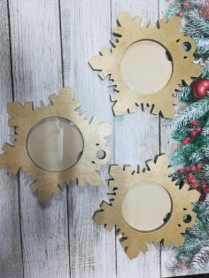 Laser Cut Snowflake Shaped Photo Frame DXF File