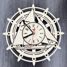 Laser Cut Wall Clock with Sailboat Free Vector