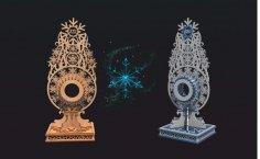 Laser Cut Snowflake Clock 4mm Free Vector