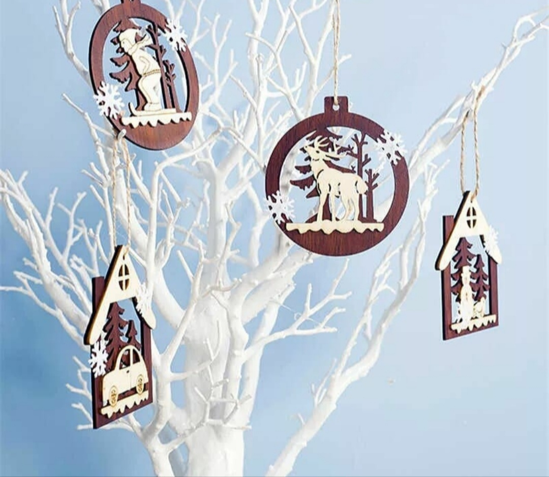 Laser Cut Christmas Tree Ornaments Free Vector