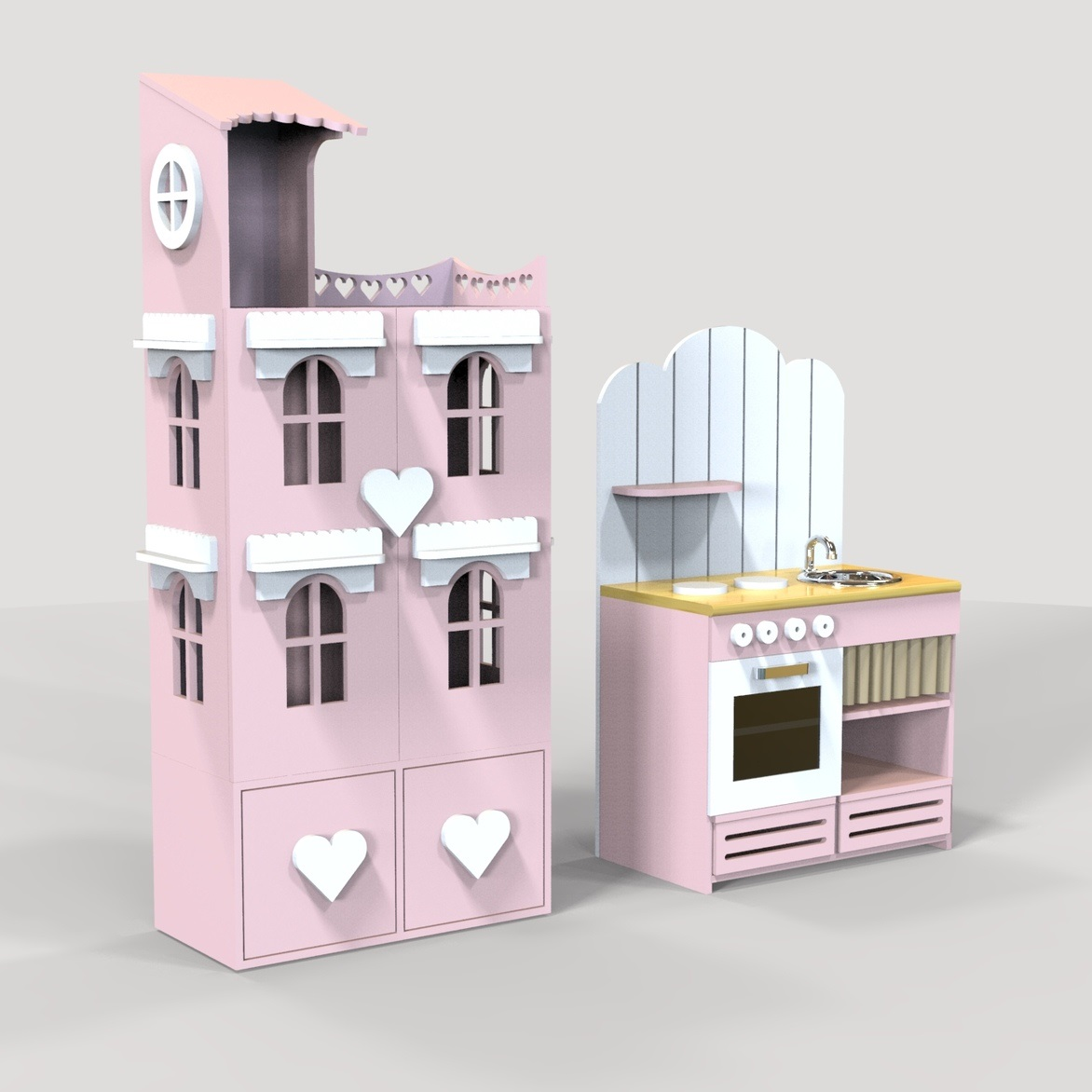 Laser Cut Dollhouse And Mini Oven Toy DXF File
