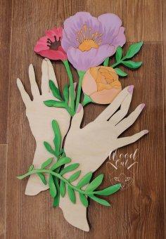 Laser Cut Art Hand Holding Flowers Free Vector