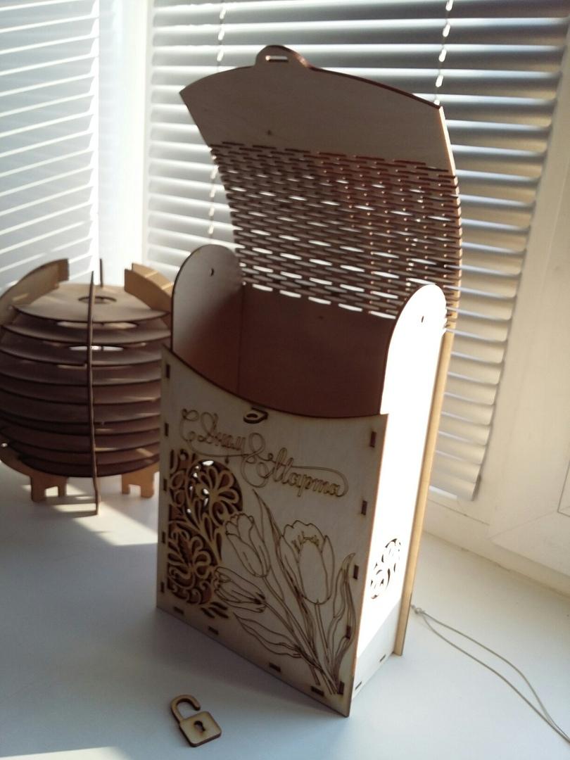 Laser Cut Decorative Wine Box 3mm Plywood Free Vector