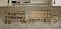 Laser Cut Toy Car Storage Truck Shelf For Kids Cars 3mm Free Vector