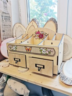 Laser Cut Cosmetics Jewelry Organizer Storage Box With Drawers 6mm Free Vector