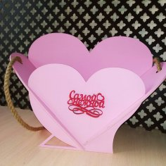 Laser Cut Heart Basket Free Vector
