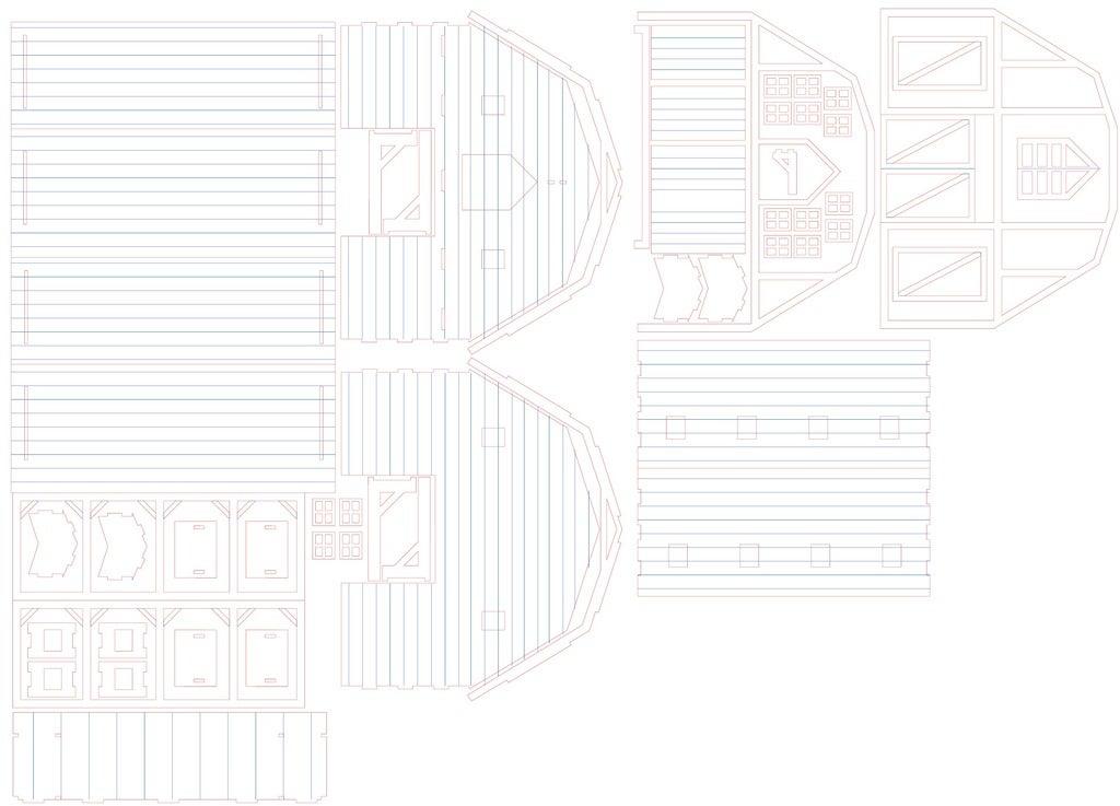 Laser Cut Barn DXF File