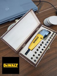 Laser Cut Wooden Box For DEWALT Right Angle Attachment Free Vector