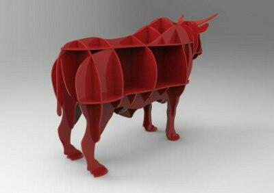 Laser Cut Bull Shelf Free Vector