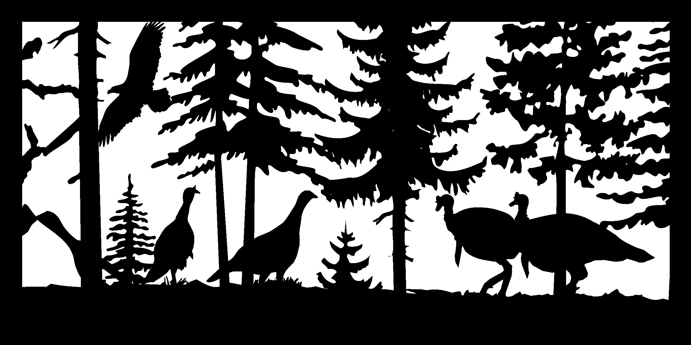 24 X 48 Four Turkeys And An Eagle Plasma Art DXF File