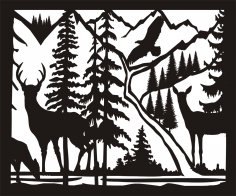 30 X 36 Doe Buck Doe Eagle River Plasma Metal Art DXF File