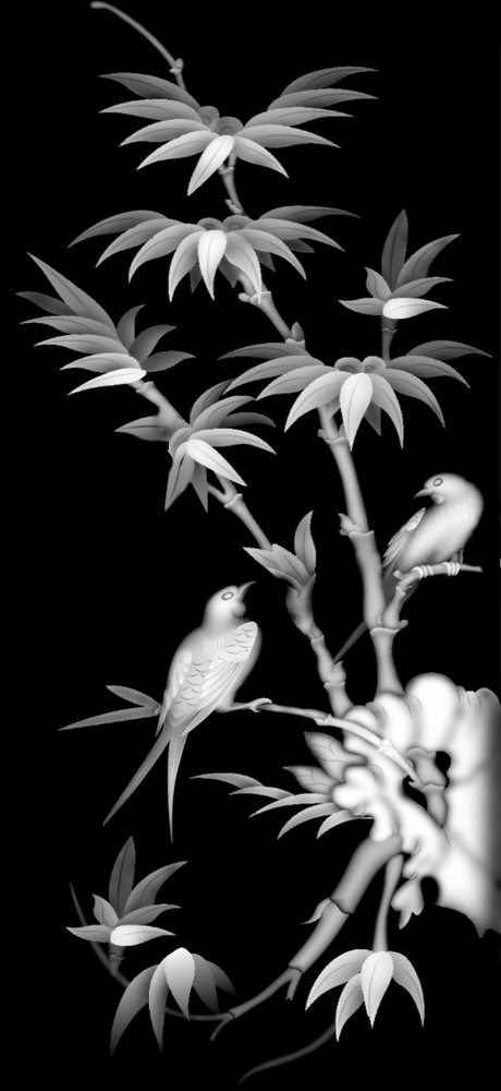 Grayscale Picture of Bamboo and Bird BMP File