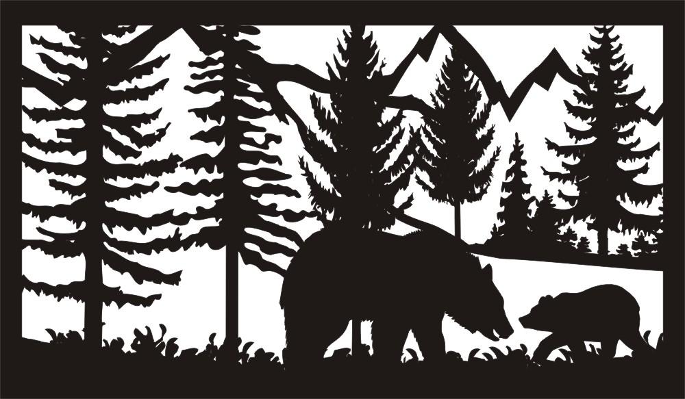 28 X 48 Two Bears Plasma Art DXF File