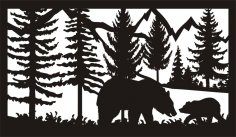 28 X 48 Two Bears Plasma Art DXF File