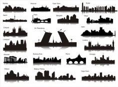 Set Of Silhouettes Of Cities Free Vector