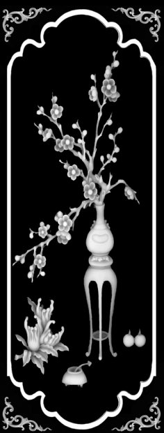 Vase with Flowers 3D Grayscale Image BMP File