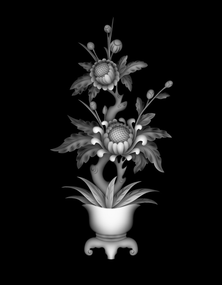 Vase with Flowers Grayscale BMP File