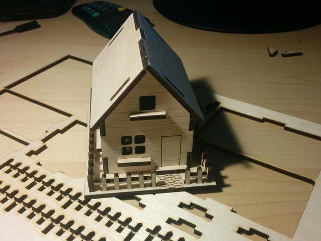 Wooden House 3mm Laser Cut PDF File