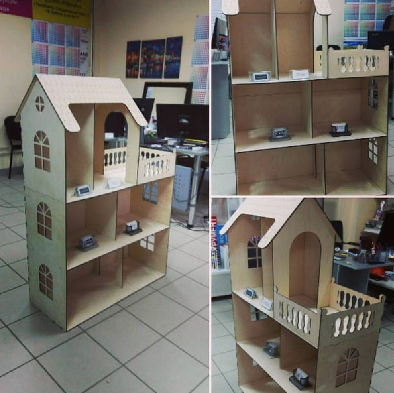 Laser Cut Wooden Dollhouse Kit Free Vector