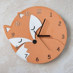 Laser Cut Fox Wall Clock With Numbers Kids Room Wall Decoration Children Clock Free Vector