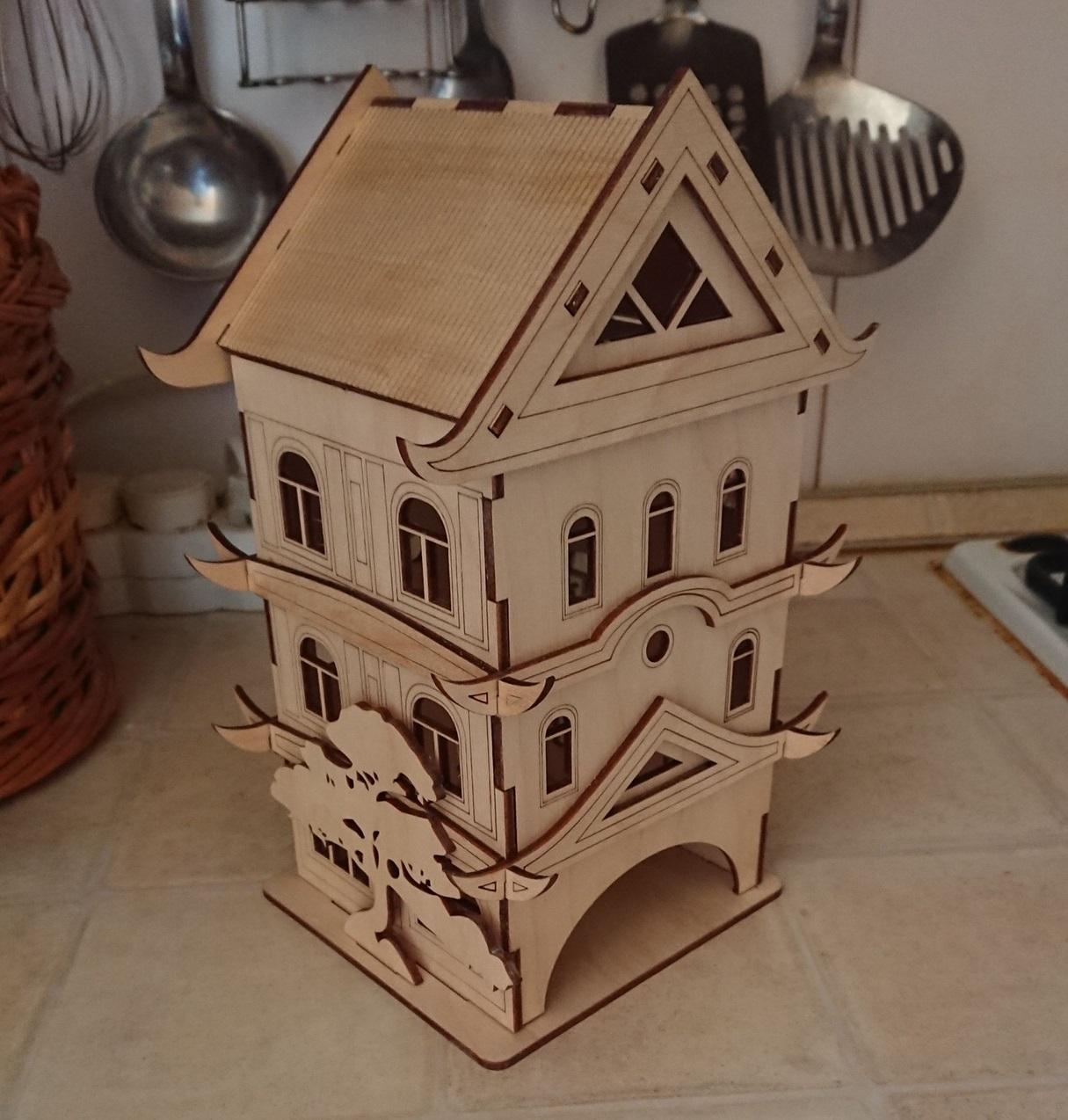 Laser Cut Decorative Pagoda Tea House Free Vector
