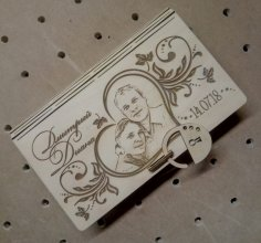 Laser Cut Wooden Decorative Book Shaped Box With Padlock Free Vector