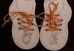 Laser Cut Wooden Toy Shoe Lace Teaching Aid For Kids Free Vector